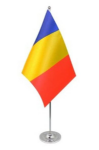 Romania Desk / Table Flag with chrome stand and base